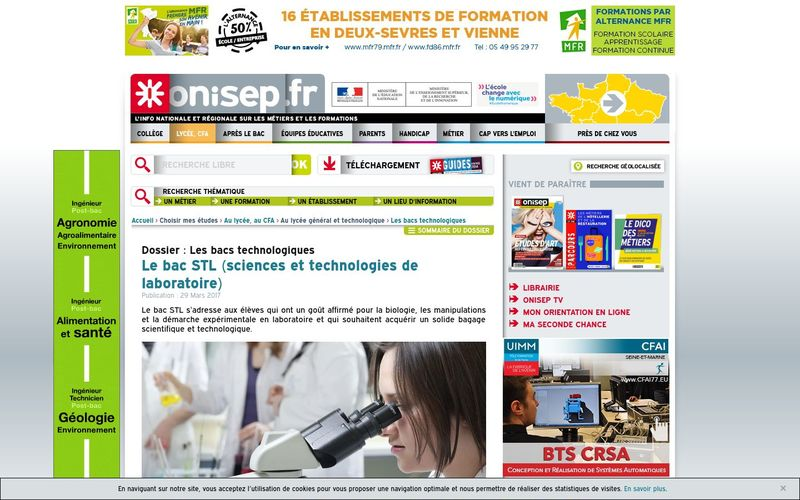 Le bac STL (sciences et technologies de laboratoire) - Onisep